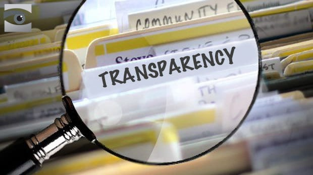 Filing cabinet with transparency written on one of the files