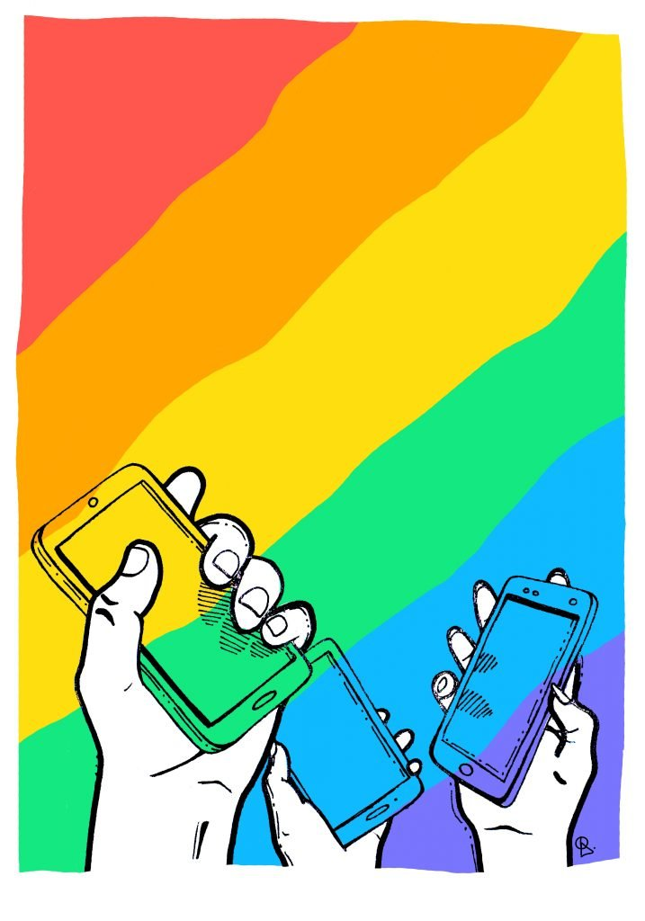 Rainbow flag background with mobile phones held up against it